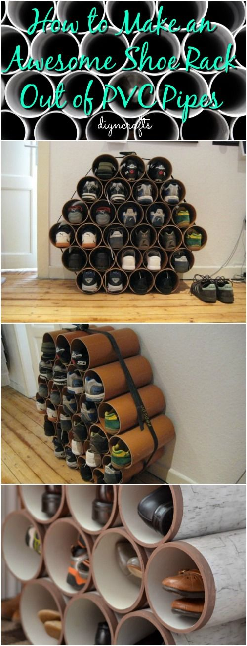 1000 ideas about pvc shoe racks on pinterest shoe racks small space storage and turned table. Black Bedroom Furniture Sets. Home Design Ideas