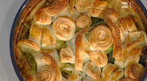 Ricette Sergio Barzetti, torta di involtini di verza con prosciutto cotto e fontina