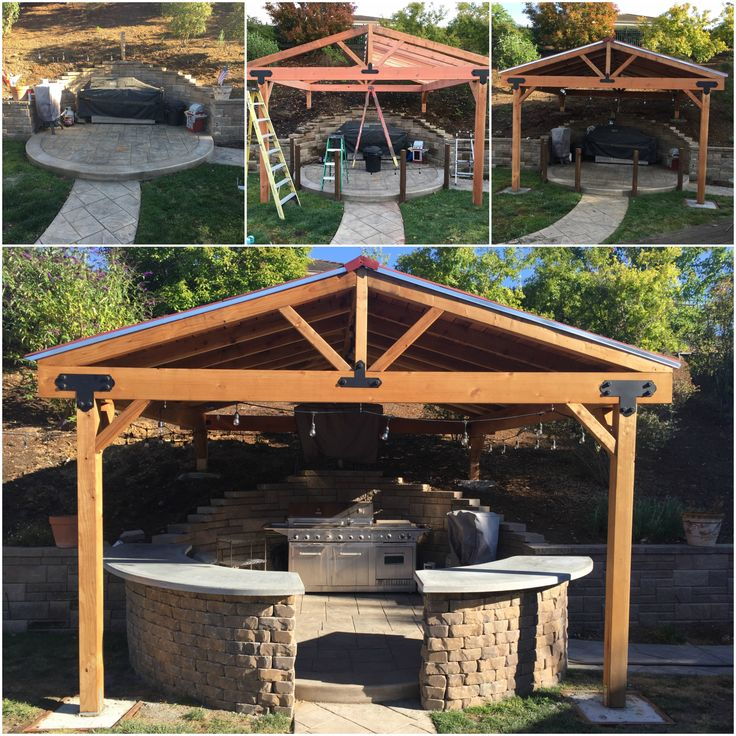 Outdoor Pergola Outdoor Bar Bbq Covered Patio Concrete