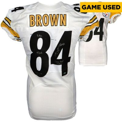 "NFL-Autographed Pittsburgh Steelers Antonio Brown Fanatics Authentic Game-Used White #84 Jersey vs San Diego Chargers on October 12, 2015 with ""3 Rec 45 yards Steelers Win 24-20 Game-Used"" Inscription $5999.99"