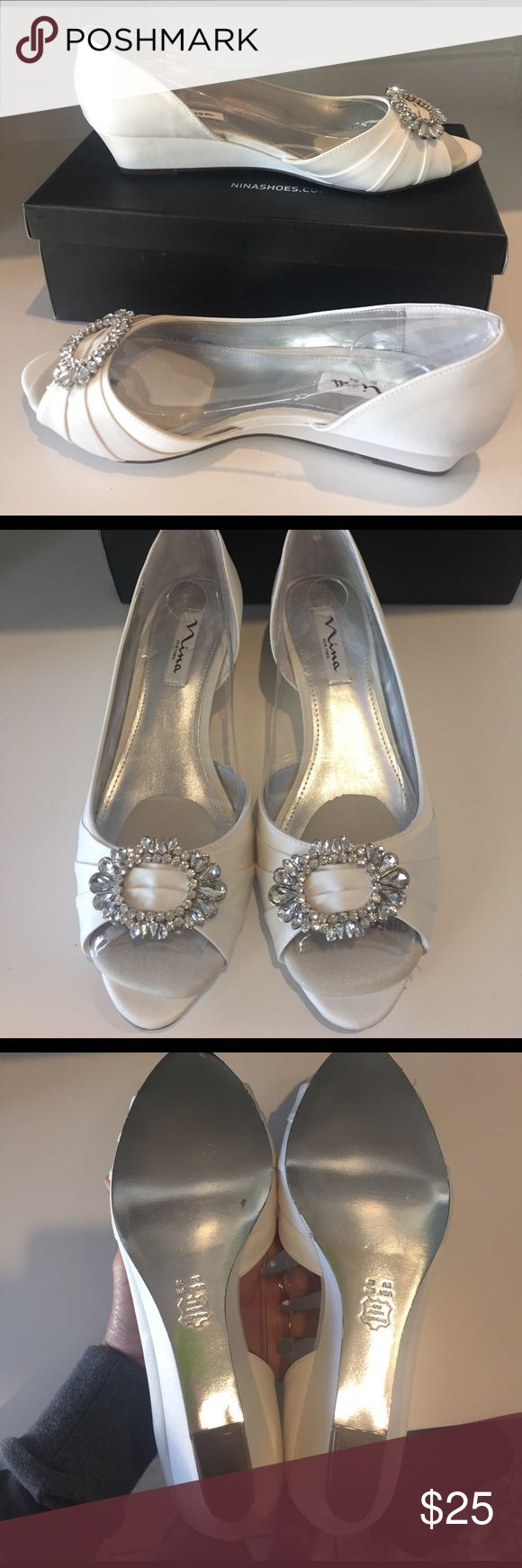 "NWOT Nina Shoes GORGEOUS ❤️and still in box. 1.5"" heel. Beautiful rhinestones on peep toe. Ivory in color Nina Shoes Wedges"