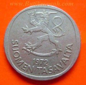 1972 Finland 1 Markka coin