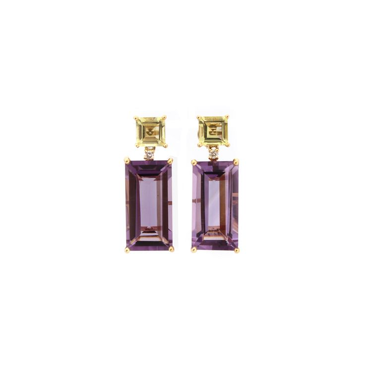 Purple Pizazz Earrings | This collection was aptly named Pizazz -  an attractive combination of vitality and #glamour. Made from #Amethyst and Lemon Quartz gemstones, #diamonds, and 18 karat #YellowGold.