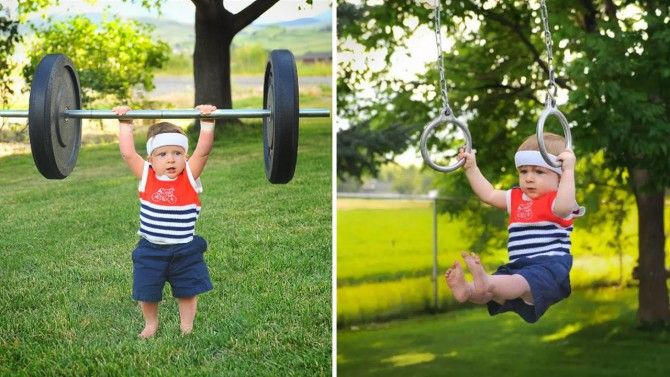 Olympic athletes begin their training young, especially for 1-year-old Rockwell who seems to have mastered every event.
