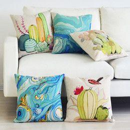 Moderna Acquerello cactus Piccioni di fiori freschi sbarcati sulla succulente Opuntia cuscino biancheria in cotone cuscino ufficio uccello decorativo tiro per il sofà