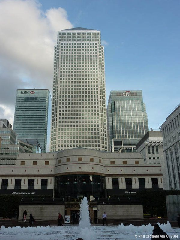 One Canada Square - 2nd tallest skyscraper in London. Height 774ft, 50 floors, completed in 1991, used for office space.