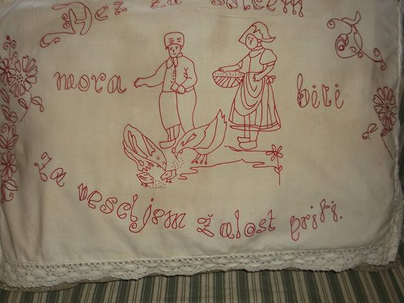 Vintage Red Work Pillow Sham by OldandDear on Etsy