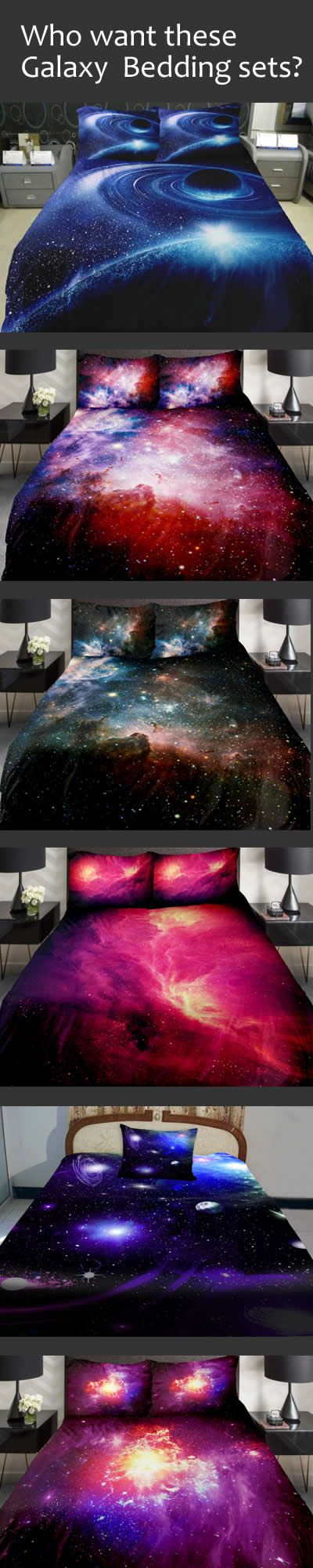 Inspire your dreams with these fascinating galaxy themed bedding/comforters. Discover more at Beddinginn.