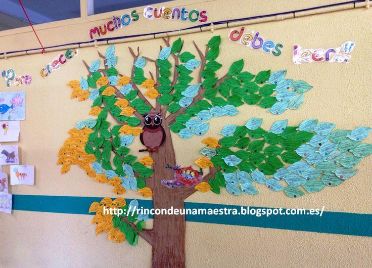 """Este año, hemos creado """"El árbol de la lectura"""". Lo vimos en varios sitios en Internet y ¡nos encantó la idea!      En él dejamos huella de ..."""