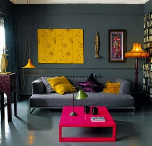 Color-block living room..a little too dark for me but love the colors
