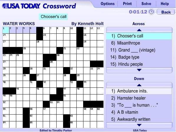 photo regarding Printable Usa Today Crosswords named Nowadays Crossword Assist Expert with respect toward United states of america At present