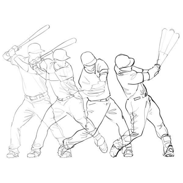 Several frames of baseball player swinging using SketchBook Pro Flipbook animation