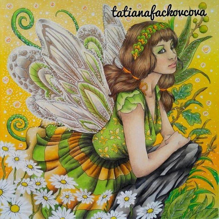 """206 Likes, 11 Comments - Tatiana Fačkovcová (@tatianafackovcova) on Instagram: """"My spring fairy Happy spring day my followers  #fantasiacoloringbook #fantasia #nickfilbert…"""""""