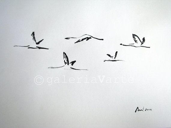 """Original ink drawing 2014 16,14x11,69"""" (41cm x 29,7cm) Flying. Author: António. This drawing is an original; one of a kind. Canson"""