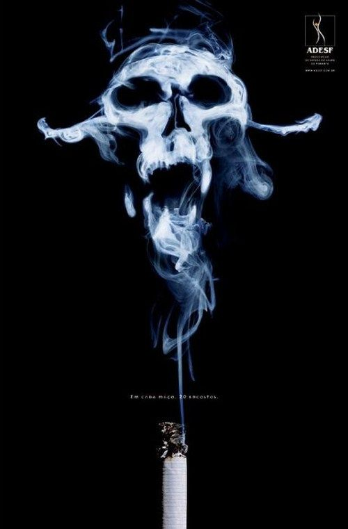 One creepy anti-smoking poster ad.  There are 72 more that are just as good.  Now that I am a non-smoker these are great.  But really, a poster or commercial is not going to get anyone to stop smoking.  You have to want to.