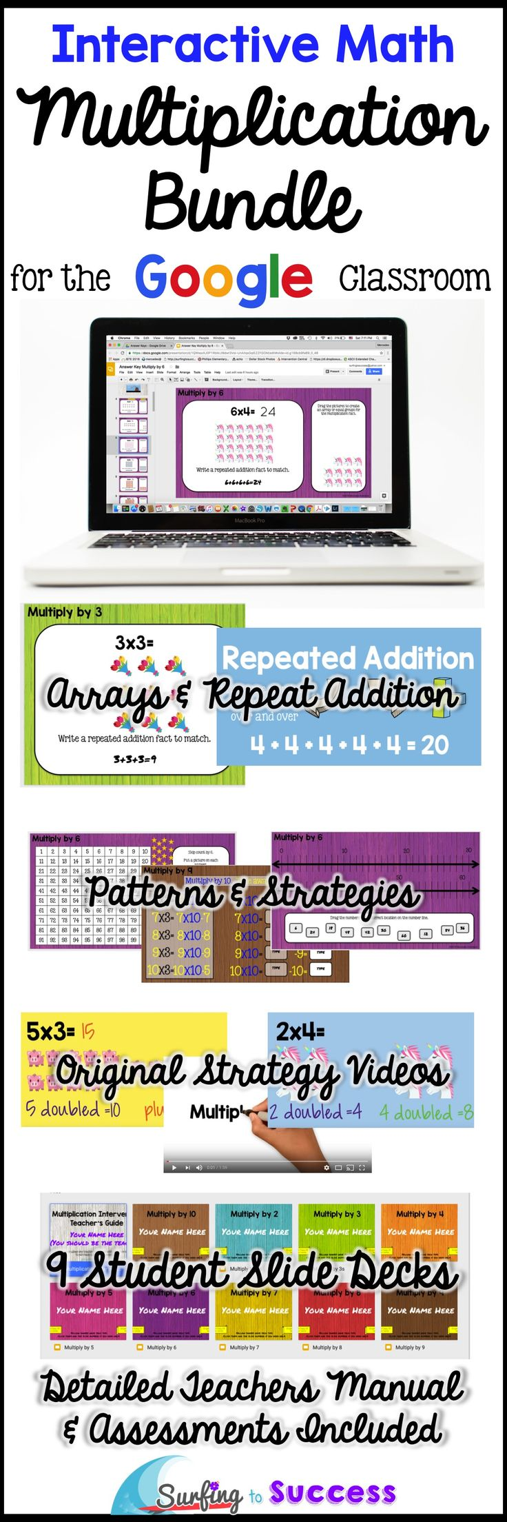Are your upper grade students struggling with Multiplication Fact Fluency? Improve memorization with this digital Google Slides Resource by focusing on Repeated Addition and other Multiplication Strategies. Fun, self paced, differentiated multiplication practice motivates students to pass each assessment. Original strategy videos demonstrate strategies like Doubles Plus One Group (for x3).  Detailed teachers manual for your Google classroom.
