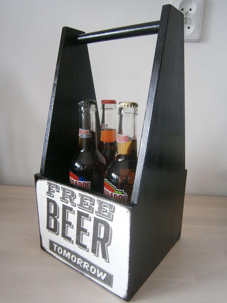 Decoupage beer box, skrzynka, nosidło na piwo, czteropak #decoupage #beer #box