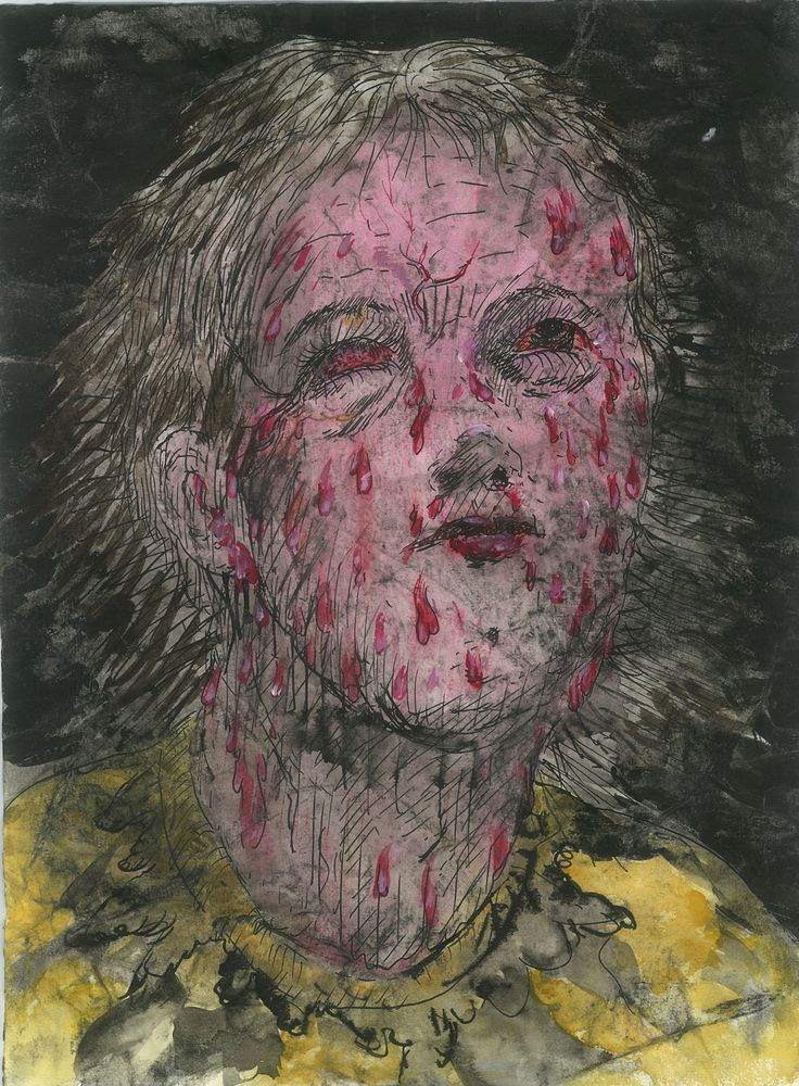 Josef Bolf, Martyrs, 2012, Colour inks, watercolor, pencil on paper 32 x 24 cm, 3, Courtesy Galerie Dukan