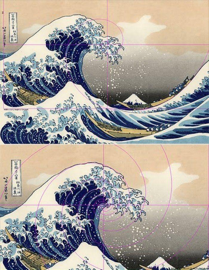 The Great Wave off Kanagawa, by Japanese artist Katsushika Hokusai, c.1832.  Fibonacci in art creates visually-pleasing proportions.