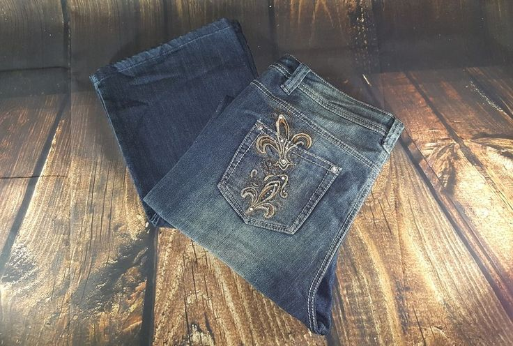 Womens REBA Jeans Autumn Hues Med Indigo Jean Rhinestones Size 14   Clothing, Shoes & Accessories, Women's Clothing, Jeans   eBay!