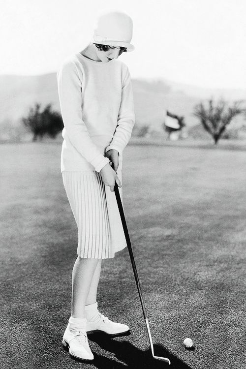 Jean Arthur playing golf, c. 1929