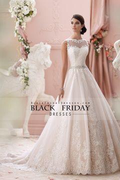 2015 del cuello del barco una línea vestidos de boda de tul con cuentas cintura con apliques $269.99 BFPGKD9RSJ - BlackFridayDresses.com