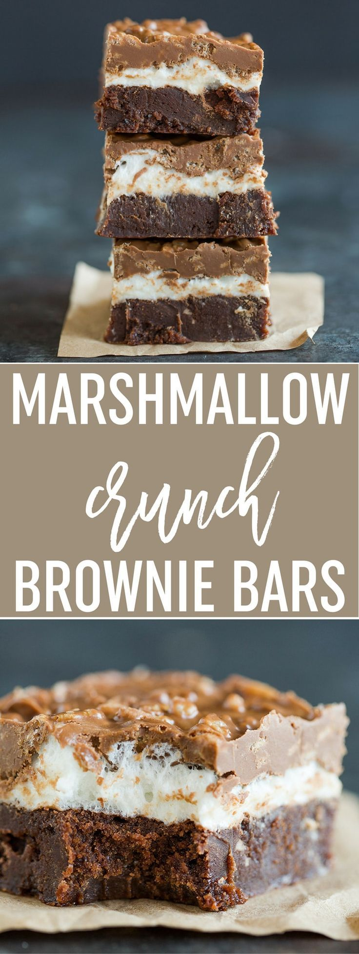 Marshmallow Crunch Brownie Bars - Super fudgy brownies topped with a marshmallow layer and a chocolate, peanut butter and Rice Krispies mixture. A huge crowd favorite! via @browneyedbaker