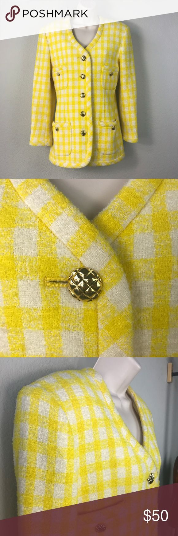 Classiques yellow plaid Chanel style jacket Japan Nordstrom line Classiques yellow and white plaid Chanel wool tweed like jacket in a squishy thick texture with great gold buttons. Classic Chanel styling on this high quality Made in Japan coat make this a total standout on a dreary winter day. Great condition, wear with a pencil skirt when you are serious and some ripped up jeans when you aren't. Nordstrom Jackets & Coats