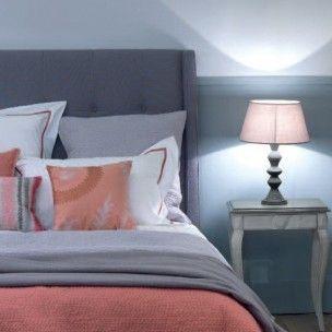 Cabecero de cama tapizado orejero gris