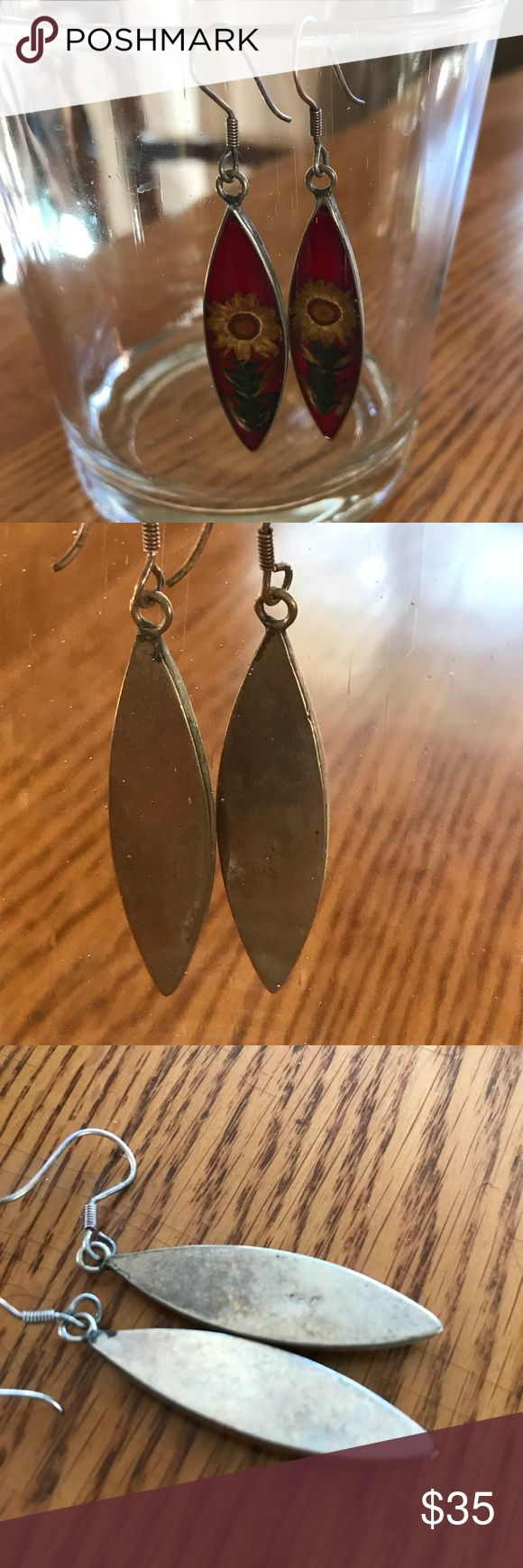 """💯STERLING HANDCRAFTED FLORAL INLAY EARRINGS 2"""" dangling length. SS and do boho pretty down to earth 🌏 earrings! Pressed flowers set inside. I'm not sure how! Any questions please ask! No trades! Offers welcome and remember to bundle for additional savings! Tx for browsing! Marian🌹 Jewelry Earrings"""