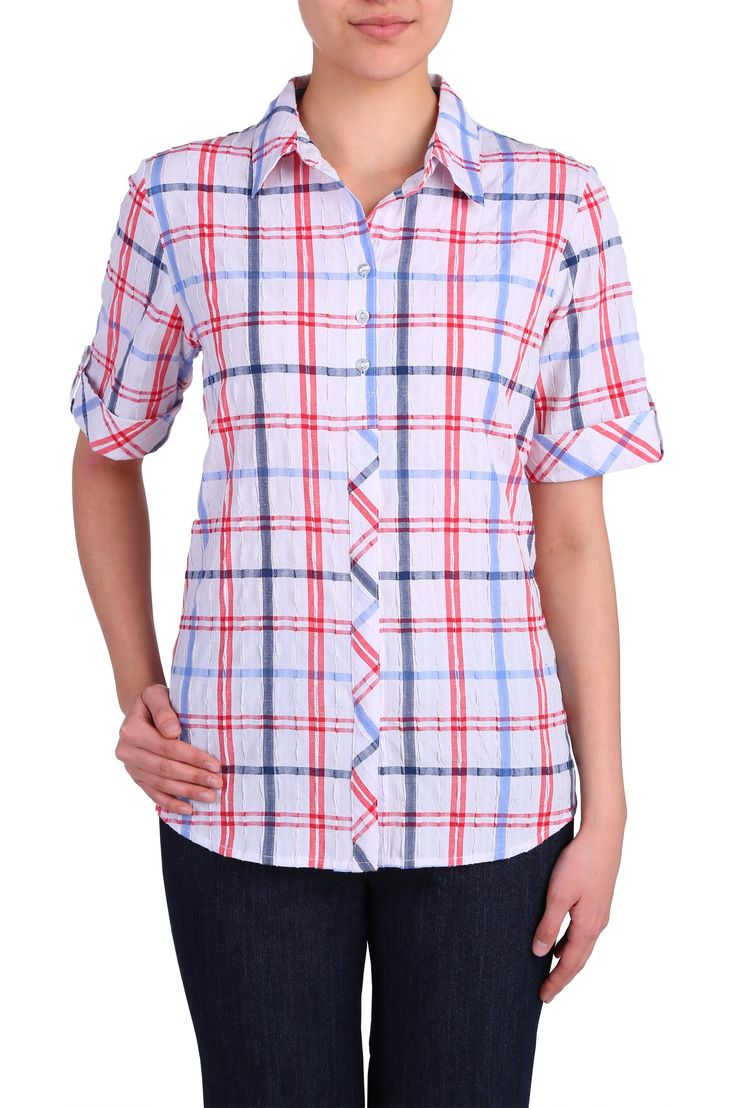Short Sleeve Roll Tab Button Front Shirt