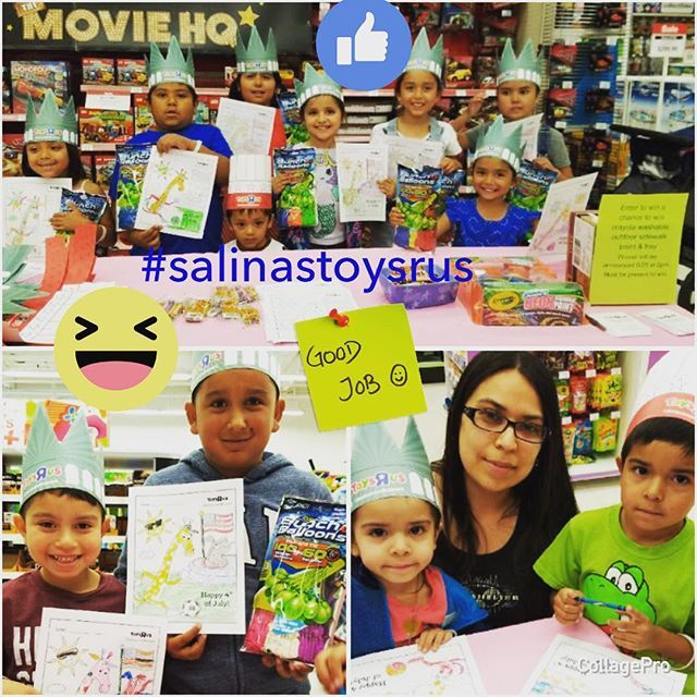 """Thank you to everyone that came out to our Pre-4th of July Event today @salinastoysrus #thankyou #summertime #awesomeday #salinastoysrus #toysrus #summertimefun #crayola #toysruskids #toysruskid #bunchoballoons #pre4thofjulyevent #salinasevent #salinas #montereylocals #salinaslocals- posted by Toys""""R""""Us Salinas https://www.instagram.com/salinastoysrus - See more of Salinas, CA at http://salinaslocals.com"""