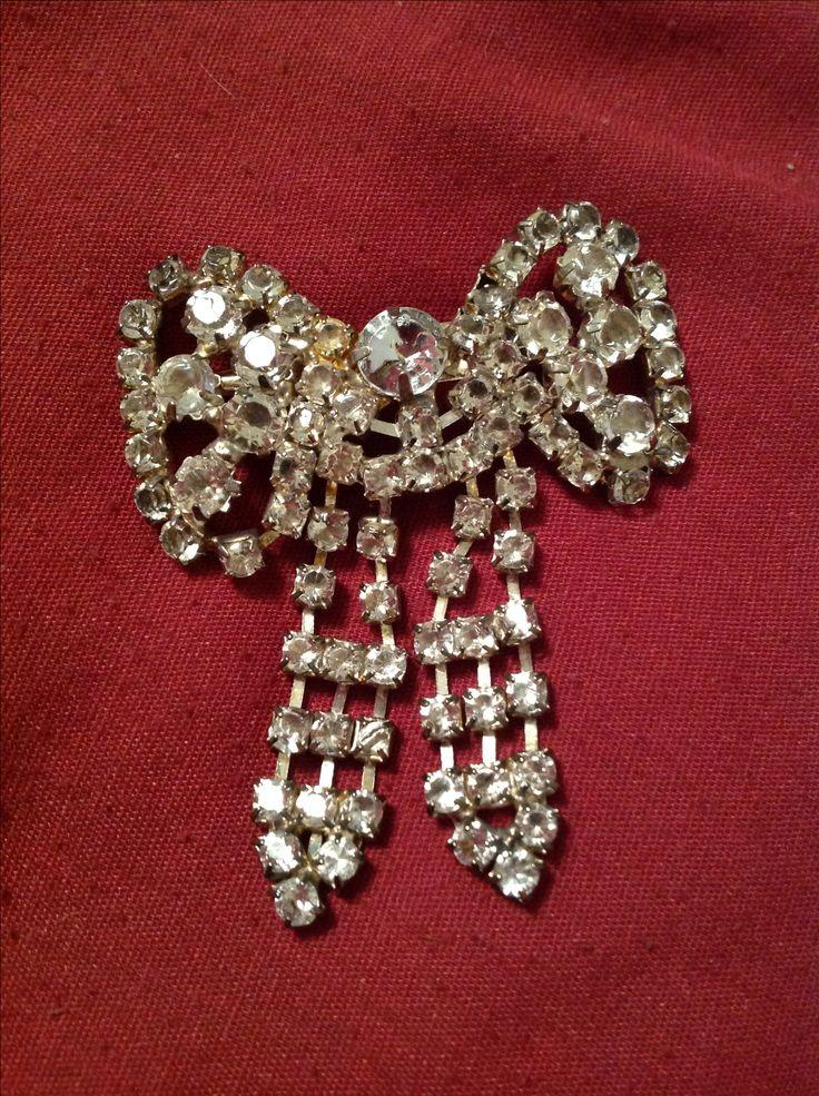 Rhinestone bow pin.  Value Village $2.99