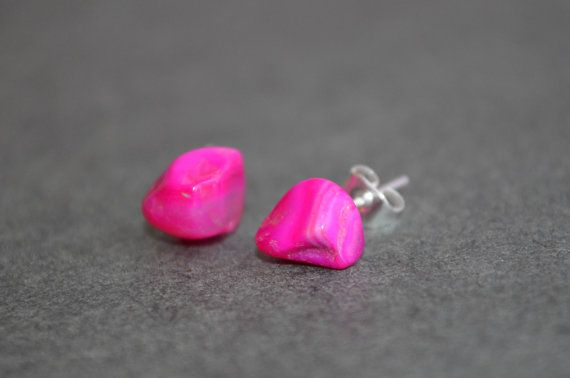 Pink Agate Crystal Stud Earrings Silver Surgical Stainless Steel Hypoallergenic…