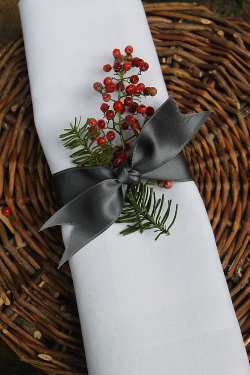 Satin Ribbon Napkin Rings — The French Basketeer used charcoal grey satin ribbon with sprigs of green and red for an elegant farm-to-table brunch. If you can tie a bow, you can make these elegant napkin rings. #ribbon #napkinrings