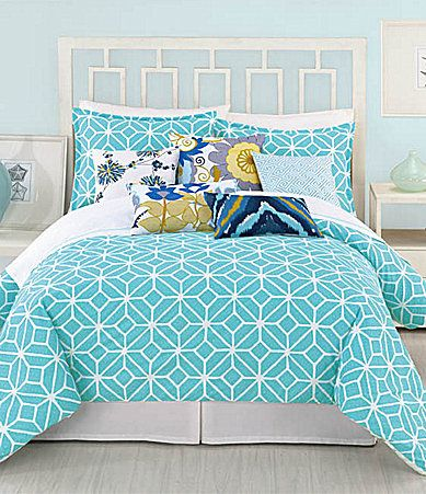 Trina Turk Trellis Turquoise Bedding Collection  Loving the colors. Wondering if a deep blue on the wall behind the bed would be too much. . .