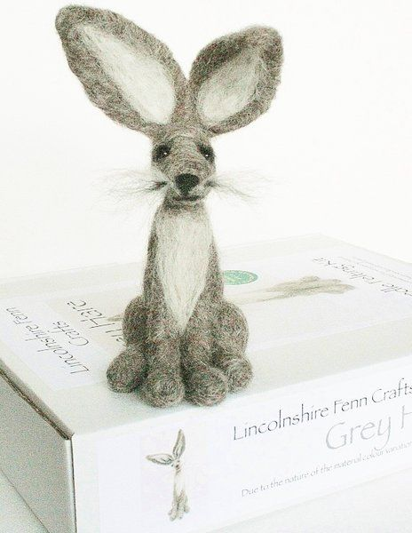 Grey Hare needle felting kit for beginners and improvers
