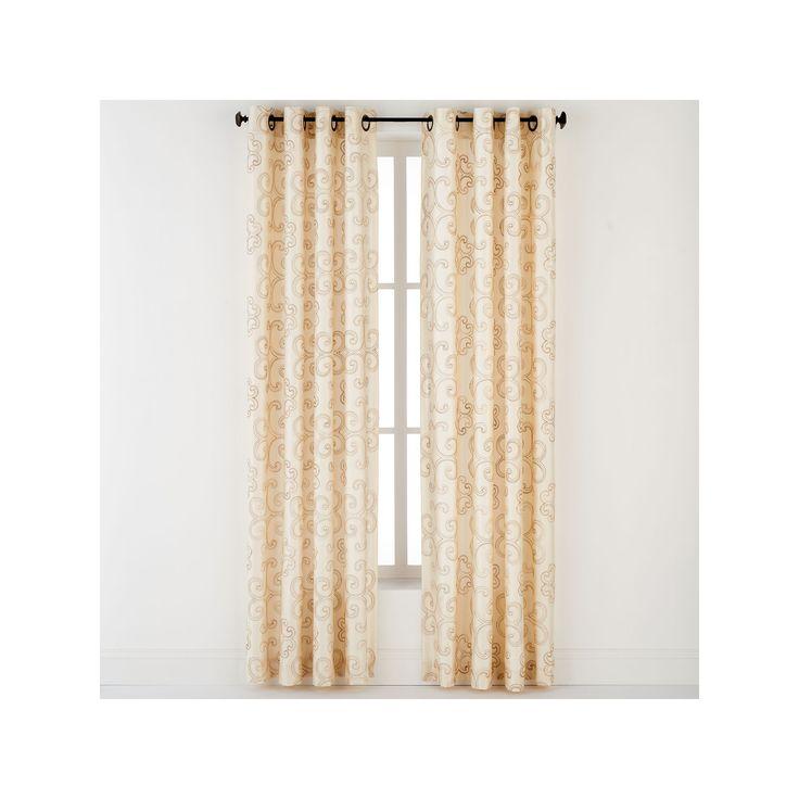 "Enchantment Silk Window Curtain – 54"" x 84"", Beig/Green, 54X84"