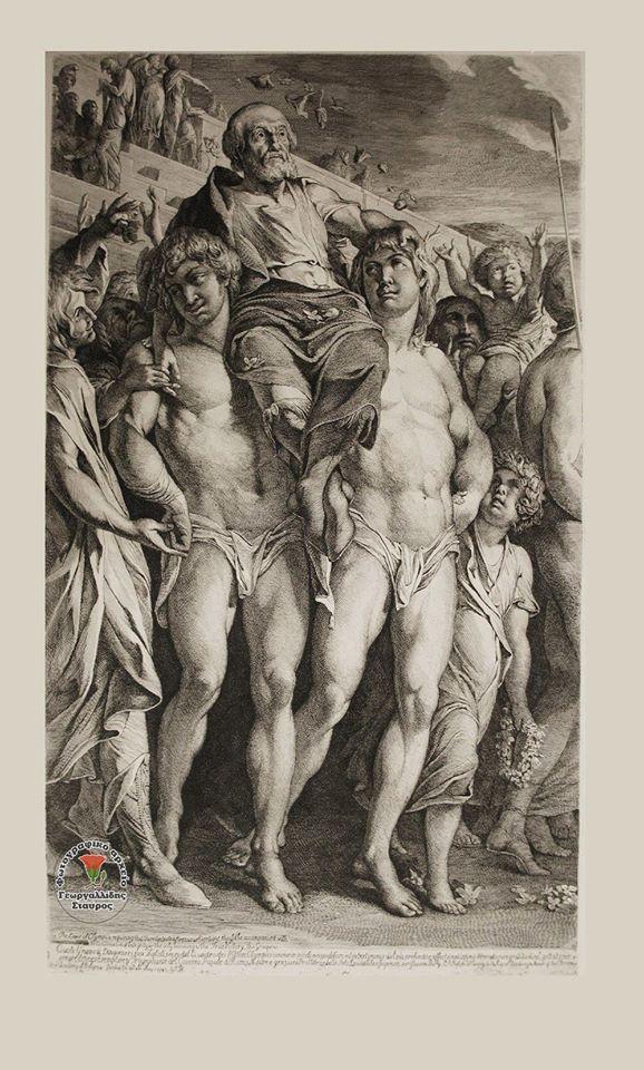 Ρόδος. Ο θρίαμβος του Διαγόρα, ο Διαγόρας μεταφέρεται στο στάδιο από τους γιους του Δαμάγητο και Ακουσίλαο (Χαλκογραφία Victors J. Barry) 1741-1806. Χαρακτηριστικά γνωρίσματα του Διαγόρα: Ως πυγμάχος είχε μεγάλος ύψος και η τακτική που ακολουθούσε όταν αγωνιζόταν ήταν να μην στρίβει ή να σκύβει, και έτσι δεν απέφευγε τον αντίπαλό του. Ο Διαγόρας είχε νικήσει σε όλους τους μεγάλους πανελλήνιους αγώνες (μία φορά στα Ολύμπια, μία στα Πύθια, τέσσερις στα Ίσθμια και δύο στα Νέμεα)