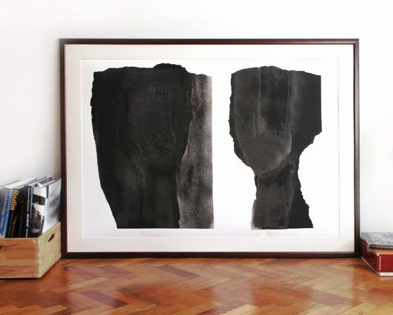 Modern Art Black and White Extra Large Wall Art by BorianaM