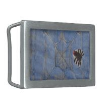 Art by Children, Spider with cobweb, drawing Rectangular Belt Buckle