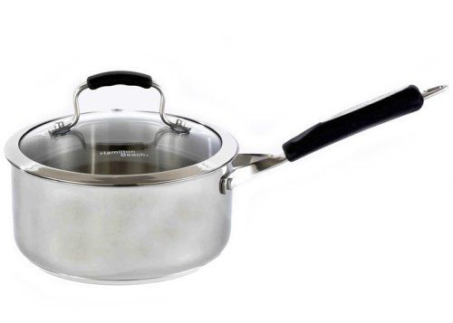 Hamilton Beach 94308 Stainless Signature 3 Quart Covered Sauce Pan by Heuck. $28.00. No hot spots so food cooks evenly and completely. Encapsulated heavy weight aluminum disc bottoms. Straight sided shell. Oven safe. Hi-temperature oven safe silicone and stainless riveted handles. Flared edge construction for pouring ease. Hamilton Beach kitchenware featuring exciting products with functional flair. Innovative Elegance! It's all about focusing on style and function. Hami...