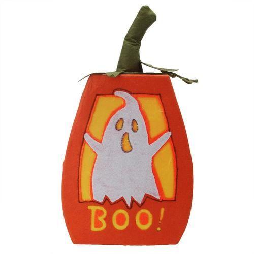 "16.75"""" LED Lighted """"BOO"""" Orange Felt Ghost Pumpkin Halloween Decoration"