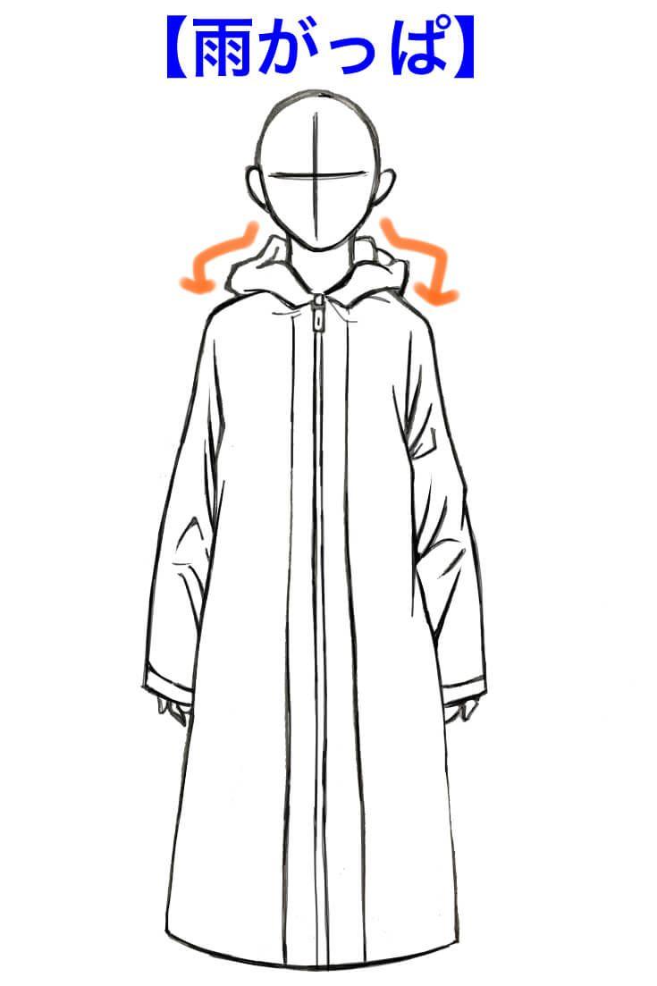 服の描き方3パーカーの基本的な描き方について紹介 D