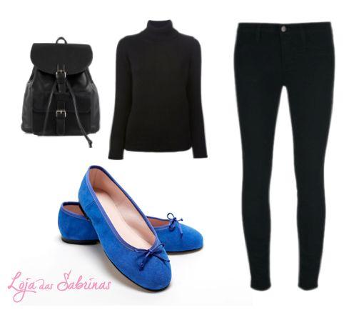 Adoramos o look preto com o toque das Sabrinas Lírio Azul!  Inspira-te clicando na imagem.