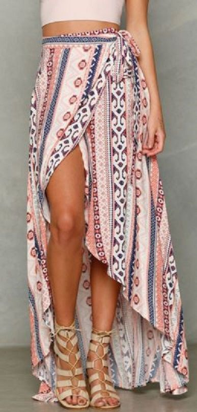 Love this Look! Pink and Blue Ethnic Print A Line Slit Skirt
