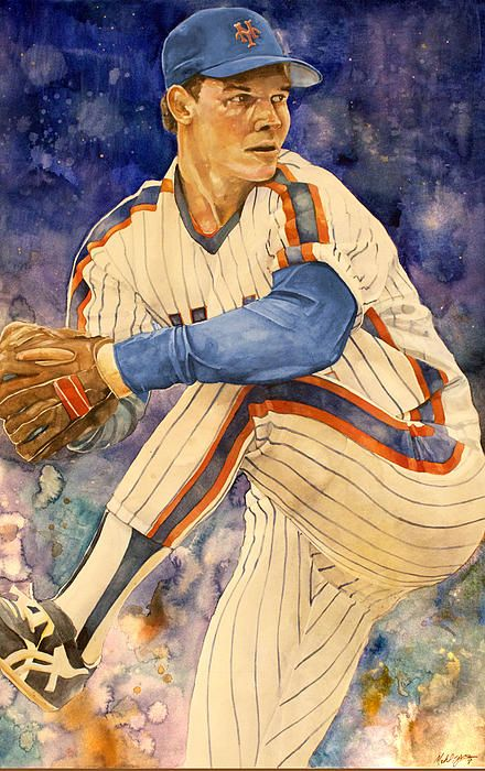 New York Mets David Cone watercolor by sports artist Michael Pattison