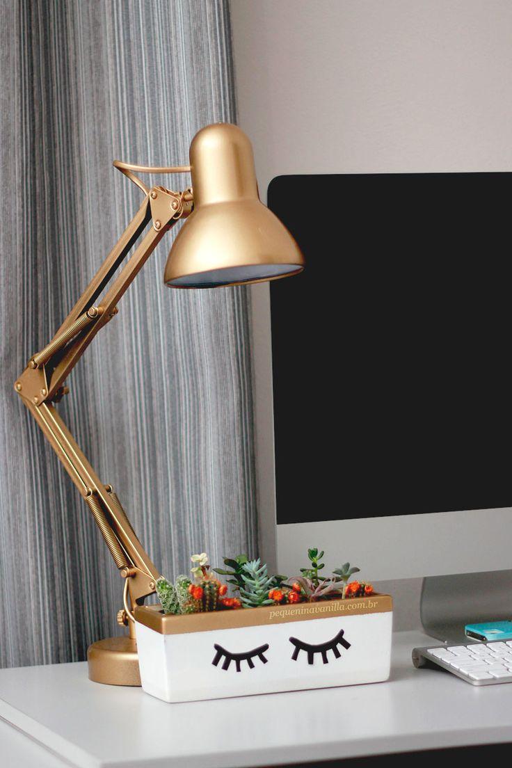 Diy luminaria dourada customizada e vaso para suculentas.