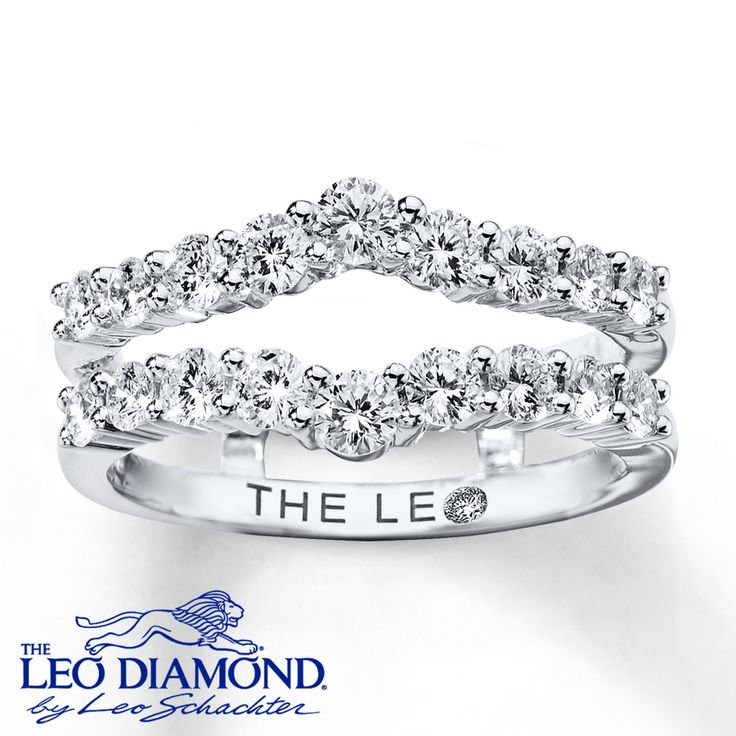 Embrace your diamond solitaire engagement ring in brilliance with this 14K white gold Leo Diamond enhancer ring. A dazzling row of diamonds comes to a point on each side for a total diamond weight of 1 carat. Each Leo Diamond is independently certified and the unique laser-inscribed Gemscribe® serial number ensures your peace of mind. The diamond solitaire ring is sold separately. Diamond Total Carat Weight may range from .95 - 1.11 carats.