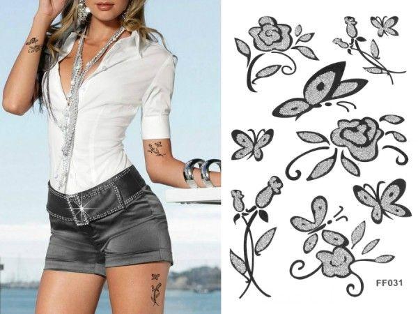 Kelebekler & Çiçekler 2 Siyah Silver Simli Geçici Dövme